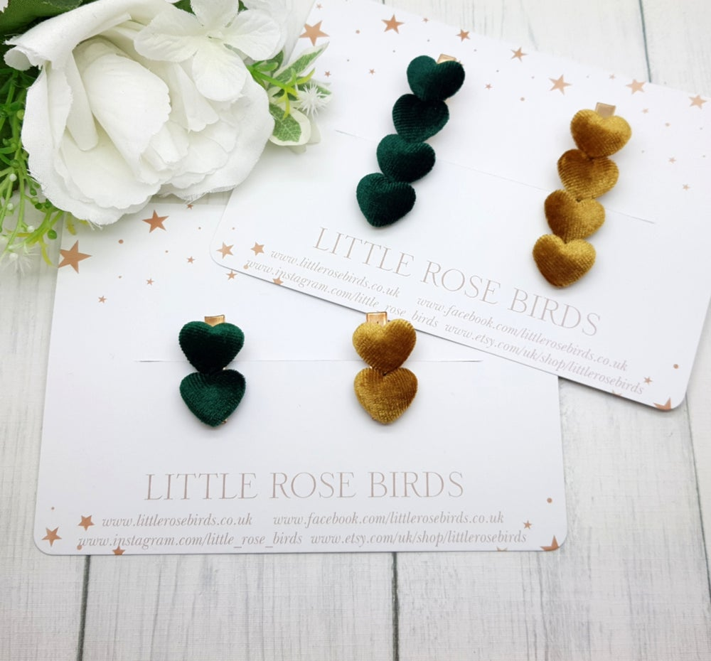 Image of Green & Mustard Velvet Heart Clips