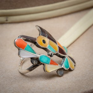 Image of Zuni Inlay Chanel Inlay Humming Bird Ring with Turquoise Jet and Coral Inlay size 6.5