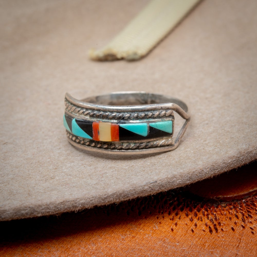 Image of Zuni Inlay Mosaic Inlay Ring with Turquoise, Jet, Coral and Mother of Pearl size 6.5 signed ZUNI NM