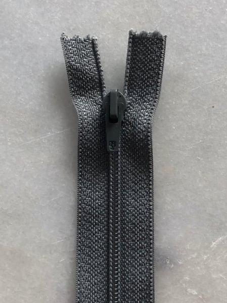 Image of Plastik lynlås 30 cm - mellem grå