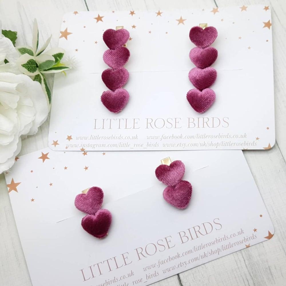 Image of Rose Pink Velvet Heart Clips