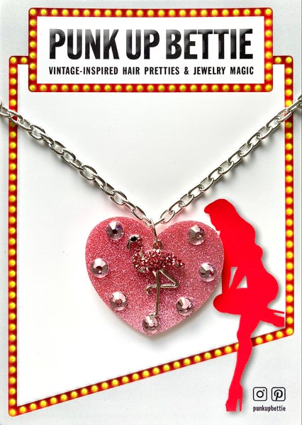 Image of Flamingo Sparkle Sweethearts Necklace - Pink Glitter