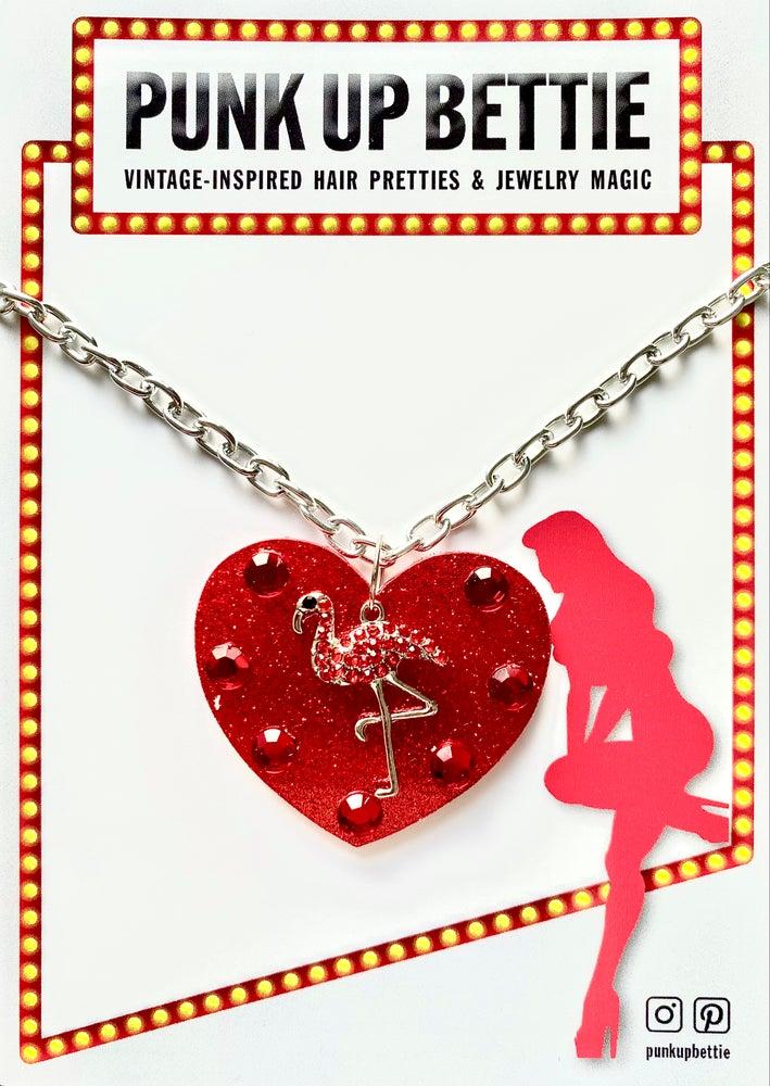 Image of Flamingo Sparkle Sweethearts Necklace - Red Glitter