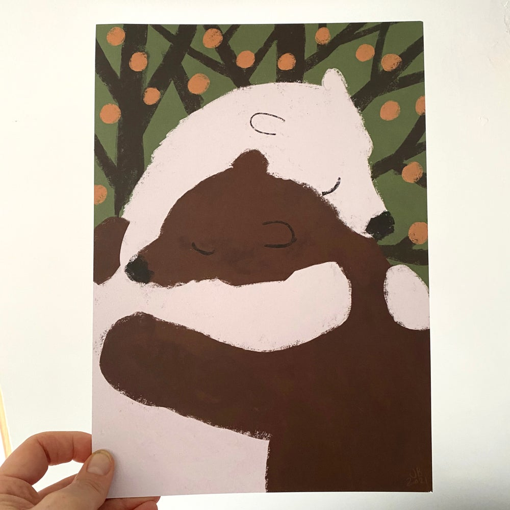 Image of  Bear Hug A4 print (chose your design  or set of 3)