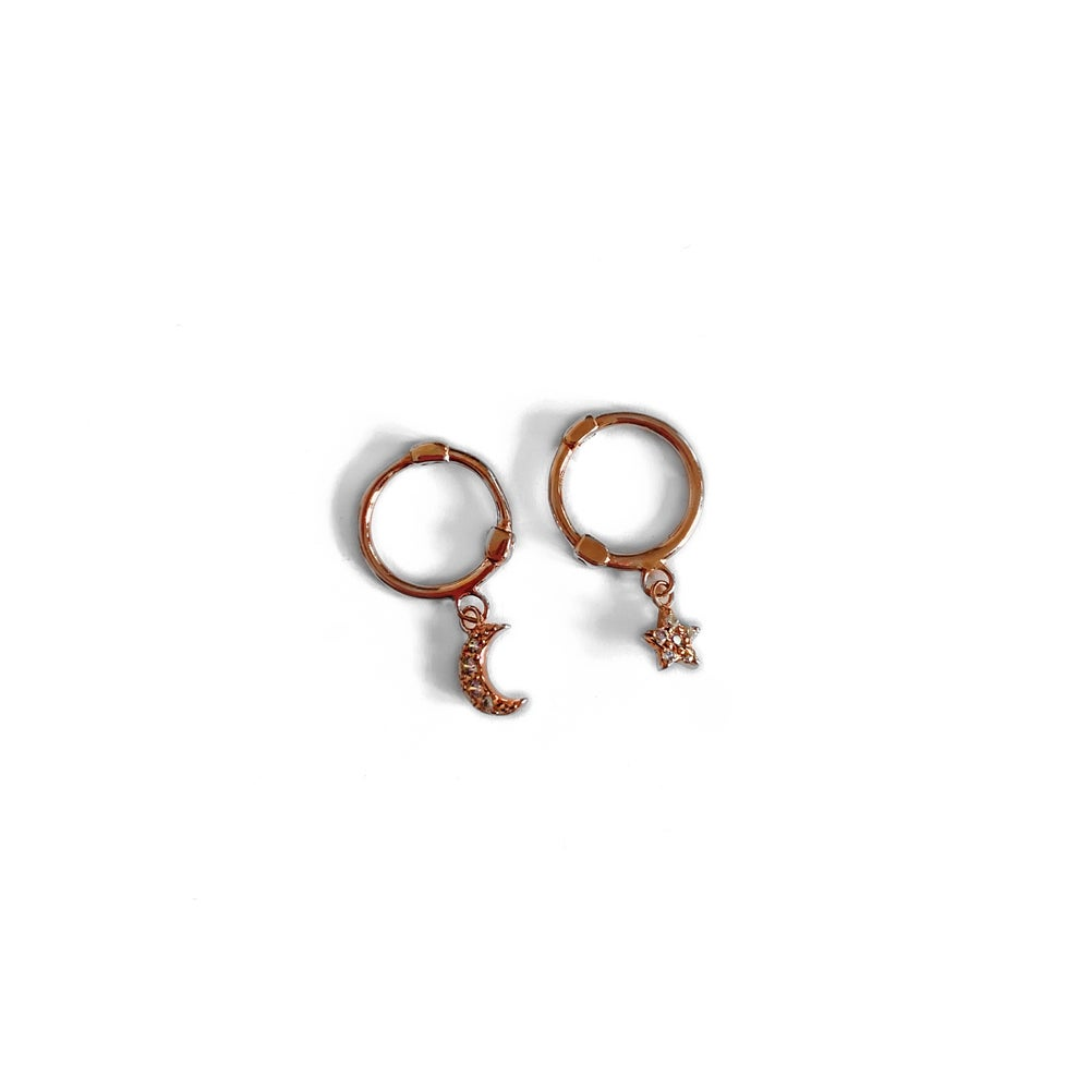Image of Rose Gold Star & Moon Hoop Earrings