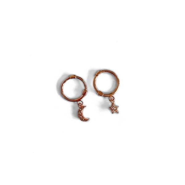 Image of Rose Gold Star & Moon Hoop Earrings