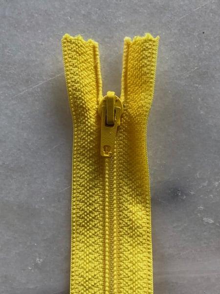 Image of Plastik lynlås 30 cm - gul