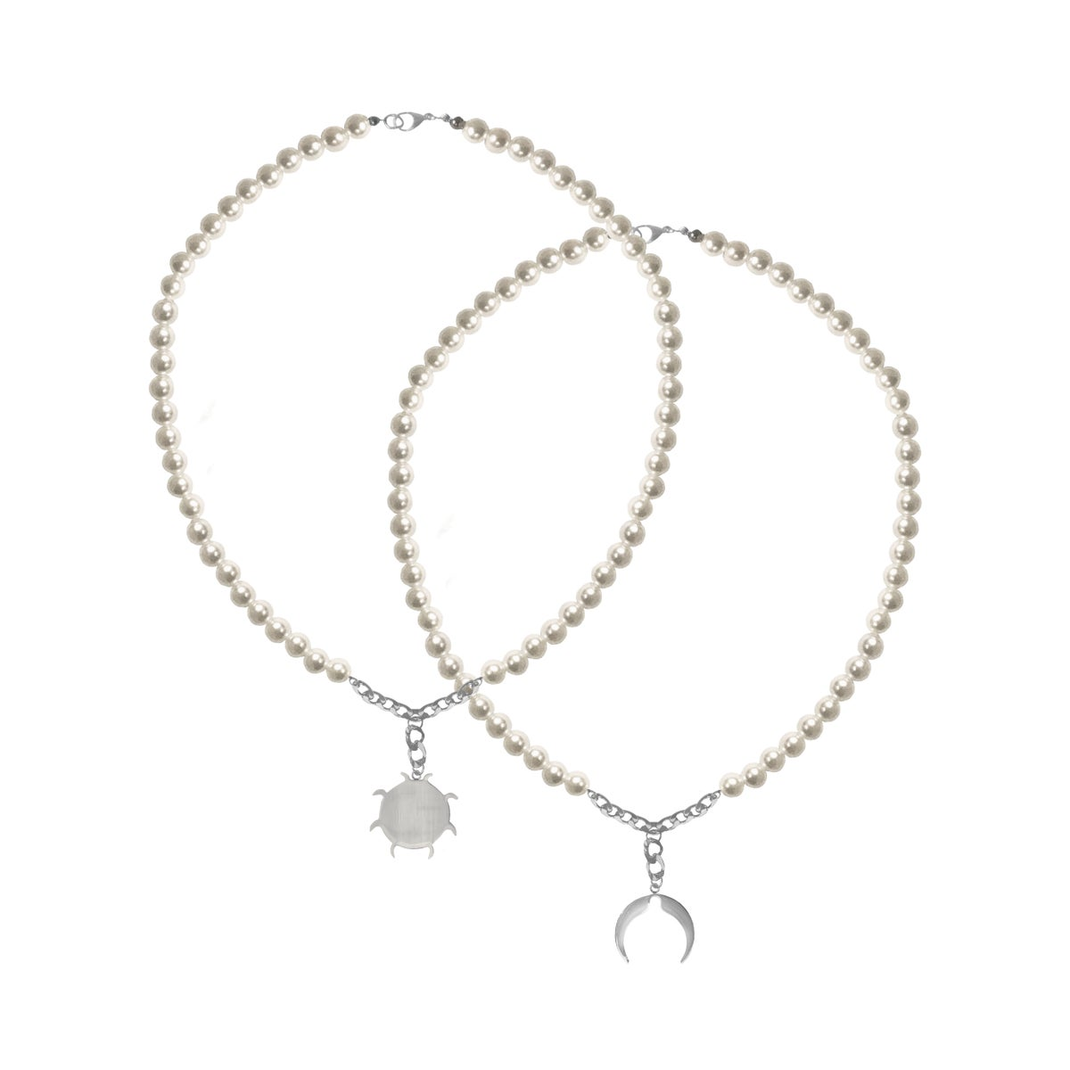Image of SALES: PACK OF 2: PEARL MOON AND SUN LOGO NECKLACES (unisex)