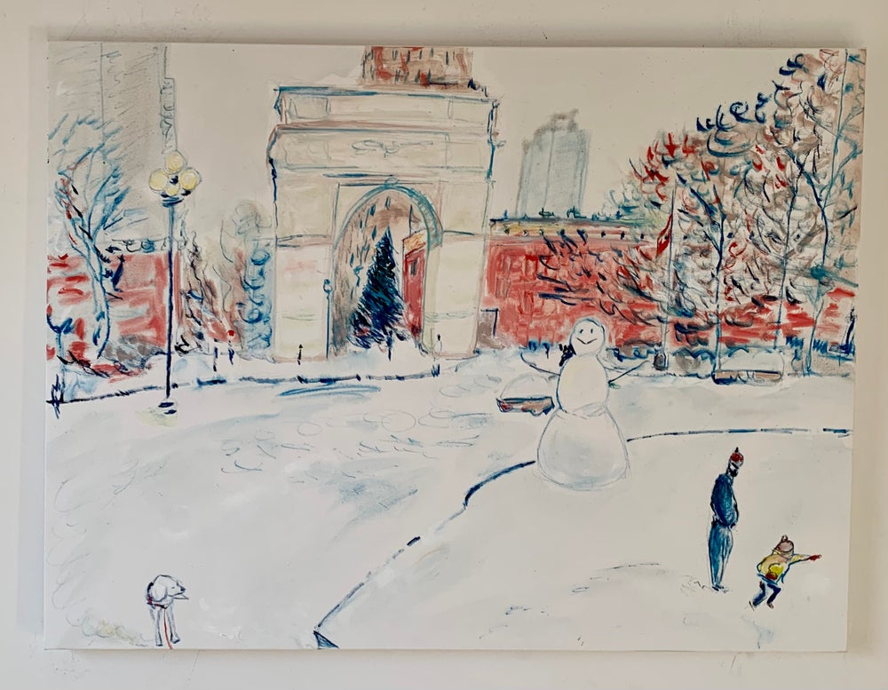 """Image of Elvis hates the snow 40"""" x 30"""" painting"""