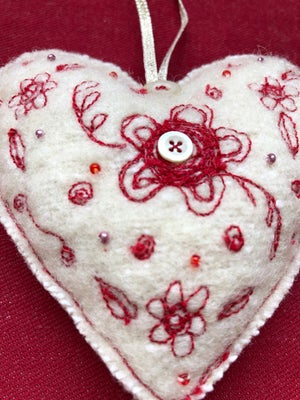 Wool Hanging Heart Decoration