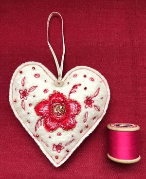 Wool Hanging Red Flower Heart Decoration