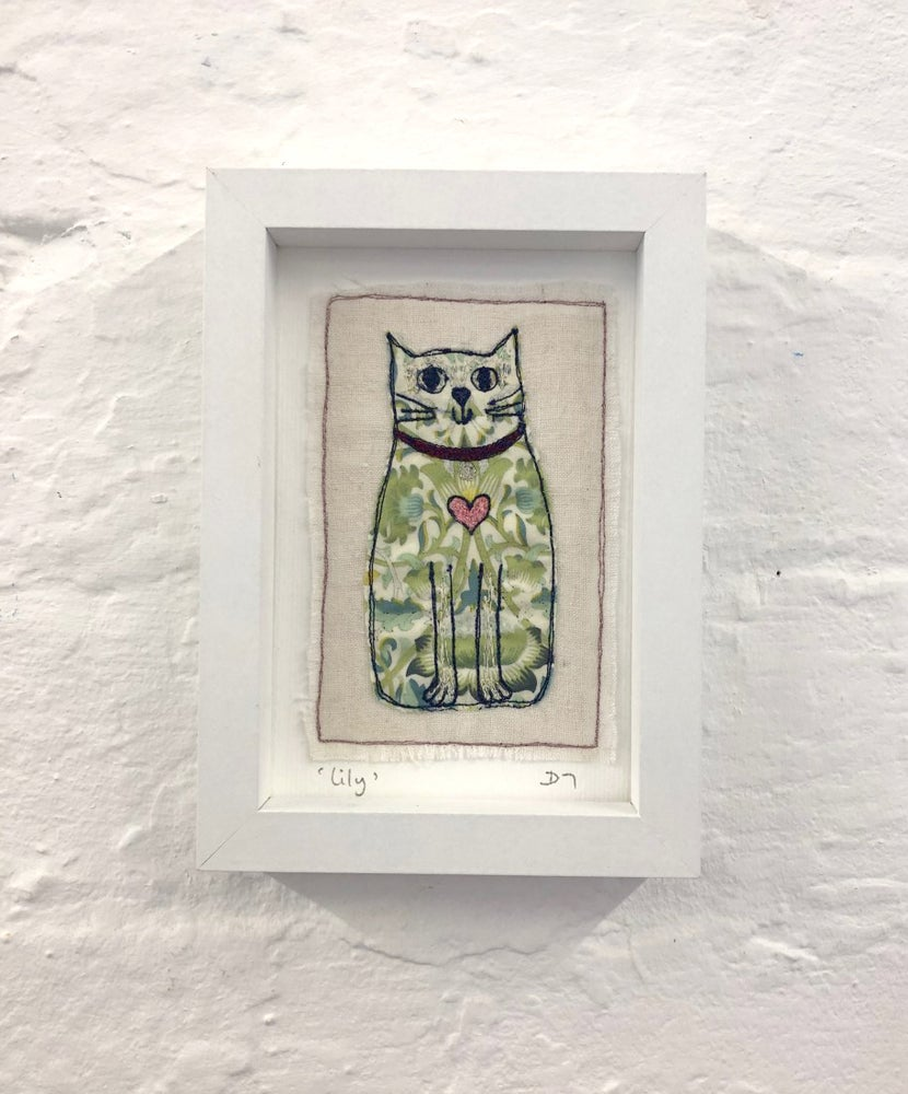 Liberty Fabric 'Lily' Embroidered Cat Picture