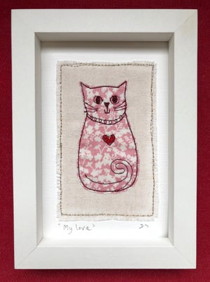 Liberty Fabric 'My Love' Embroidered Cat Picture