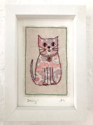 Liberty Fabric 'Daisy' Embroidered Cat Picture