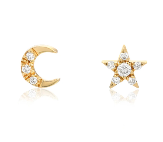 Image of 14kt and Diamonds Mini Star and Moon Studs, Lightening Bolts too