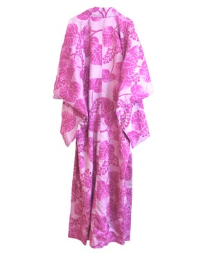 Image of Lang silke kimono i lilla-pink med kejsertræs blade