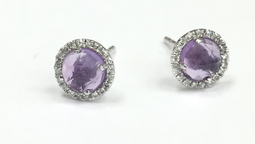 Image of Rose Cut Pale Amethyst Stud Earrings with Diamonds
