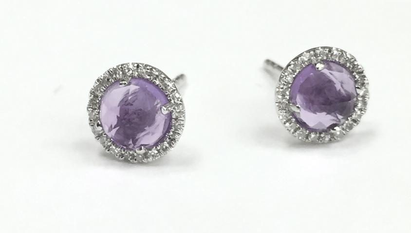Image of Rose Cut Pale Amethyst or Rainbow Moonstone Stud Earrings with Diamonds