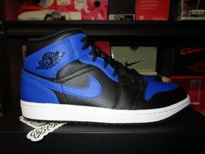 "Image of Air Jordan I (1) Retro Mid ""Black/Hyper Royal"""