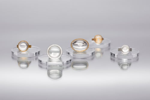 """Image of """"Rays of the sun..."""" gold plated silver ring with rock crystal · RADII SE INTER NUBILA RUMPUNT ·"""