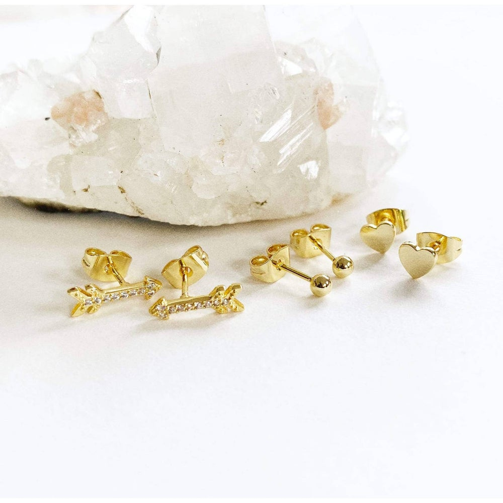 Image of Heart Stud Trio Set