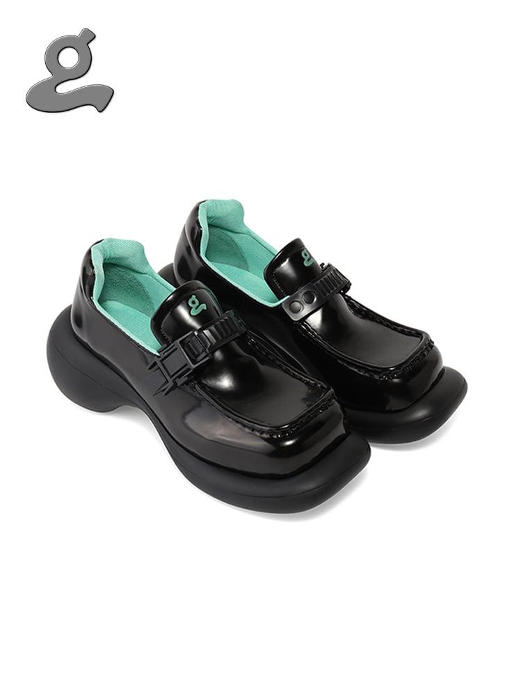 Image of Microfiber Leather Black Platform Shoes