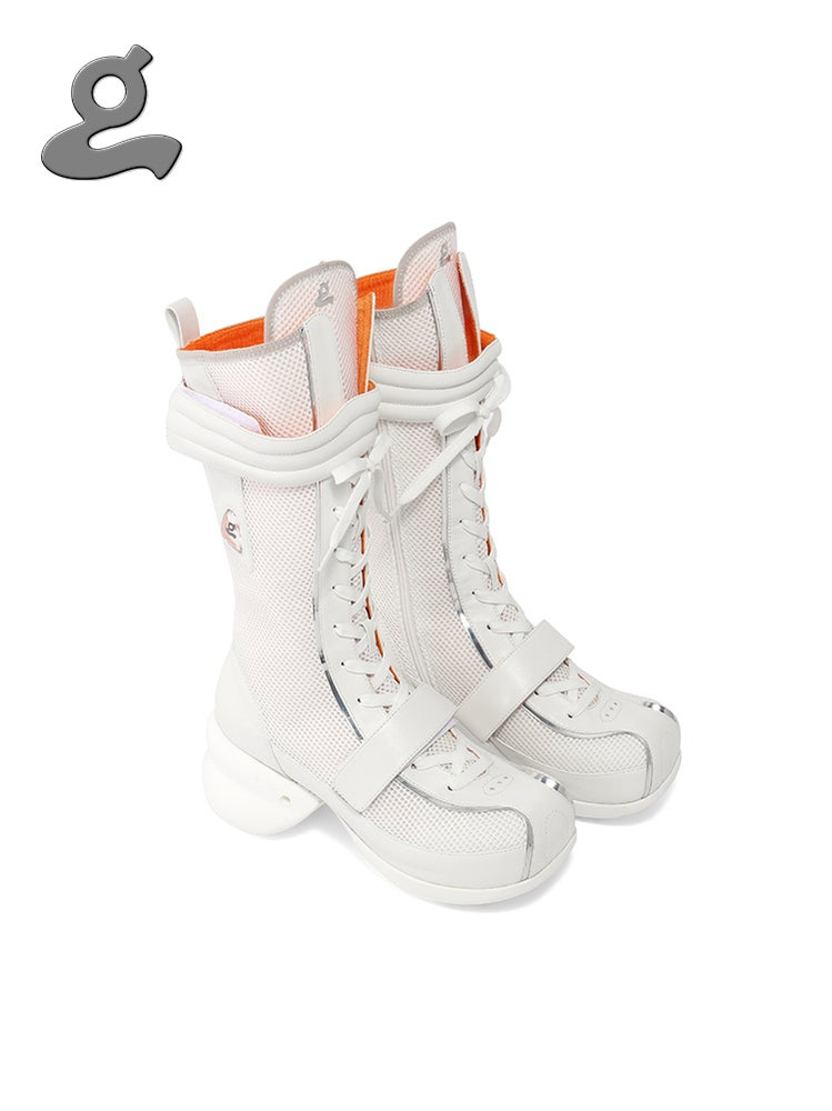 Image of White Lace-up Boxing Boots