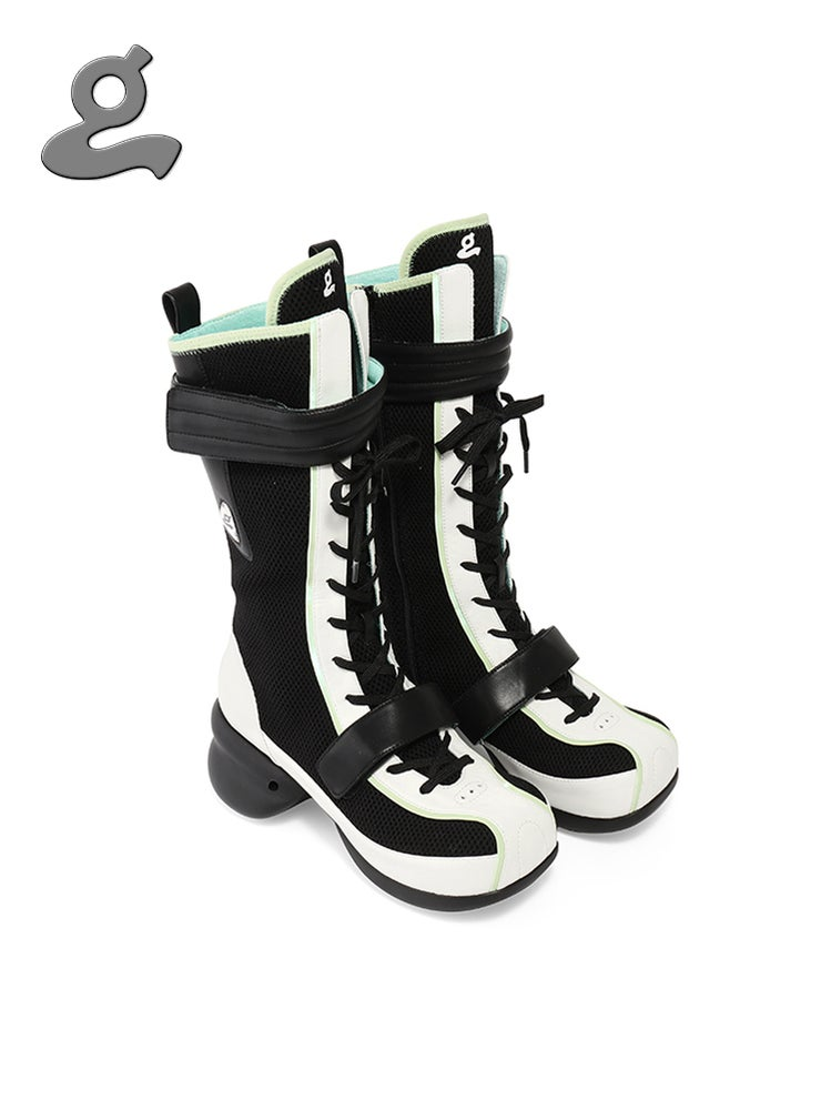 Image of Black/White Lace-up Boxing Boots