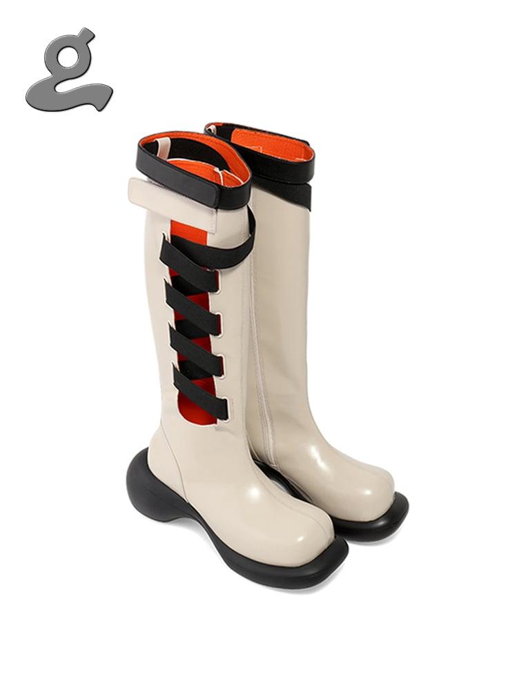 Image of Cream Elastic Tape Boots