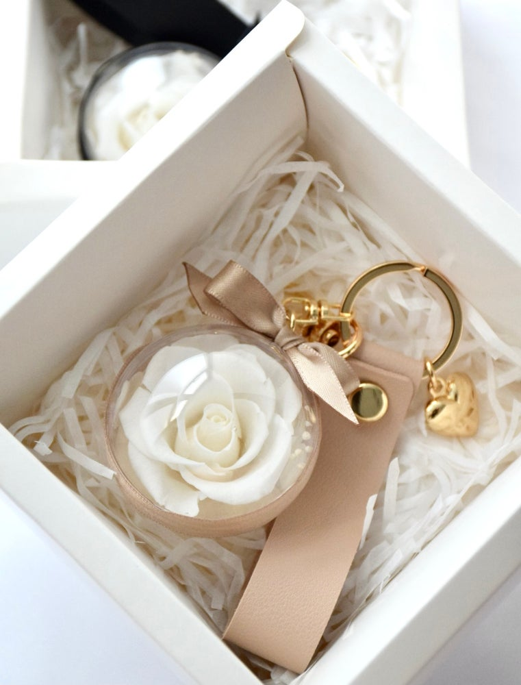 Image of Preserved White Rose Keychain