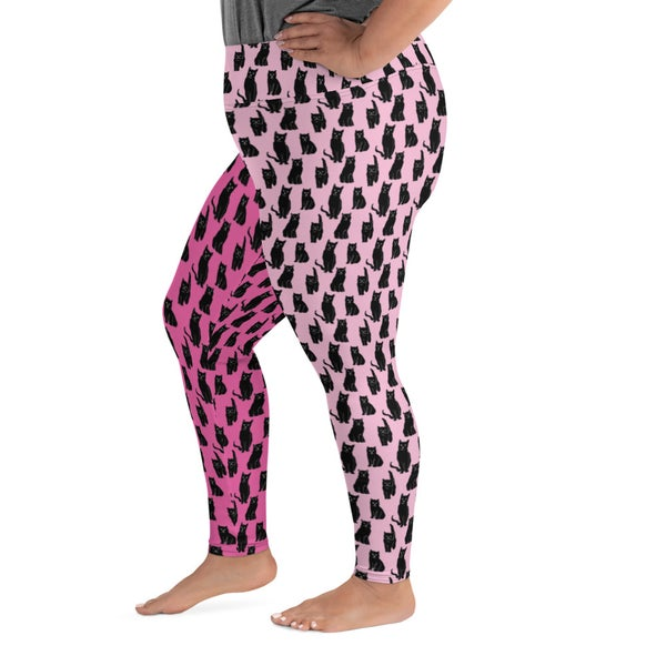 Image of TWO TONE KITTIES All-Over Print Plus Size Leggings