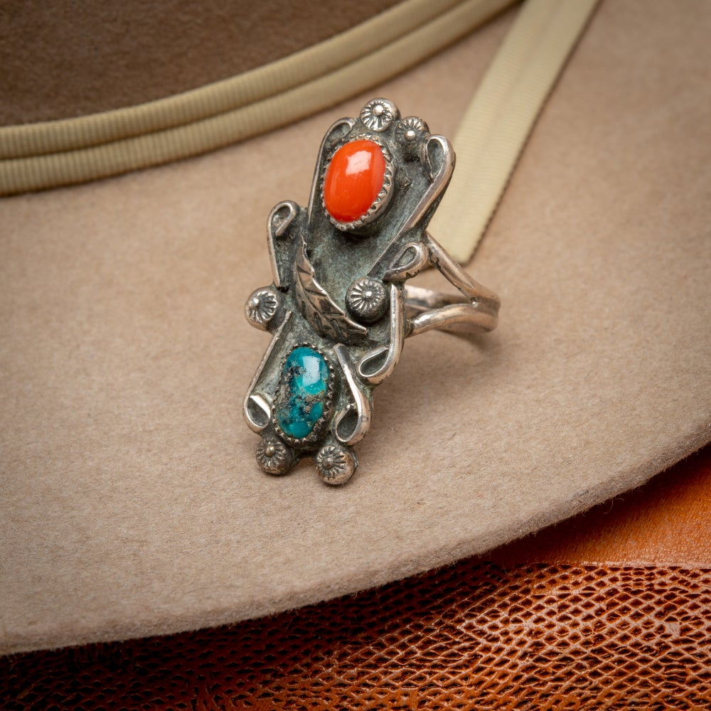 Image of Zuni Sterling Silver Ring by Zuni Silversmith with Red Coral and a turquoise Nugget  Size 8.25