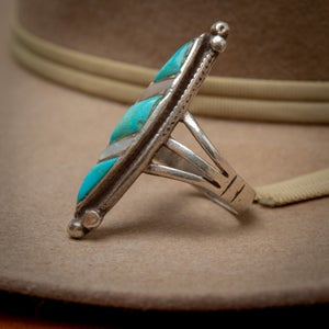 Image of Zuni Sterling Silver Ring by Zuni Silversmith with Turquoise and MOP Inlay  Size 7