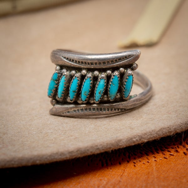 Image of Vintage Zuni Petit Point  Rows Stamped Sterling Silver Ring  Size 7