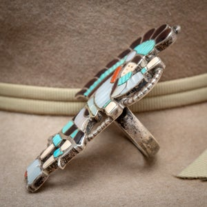 Image of Signed JA Calavaza Zuni Silversmith Snake Dancer Ring Shell Coral Carved Turquoise and MOP Size 5.5