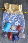 Chakra Stone Set, Gold Floral Bag