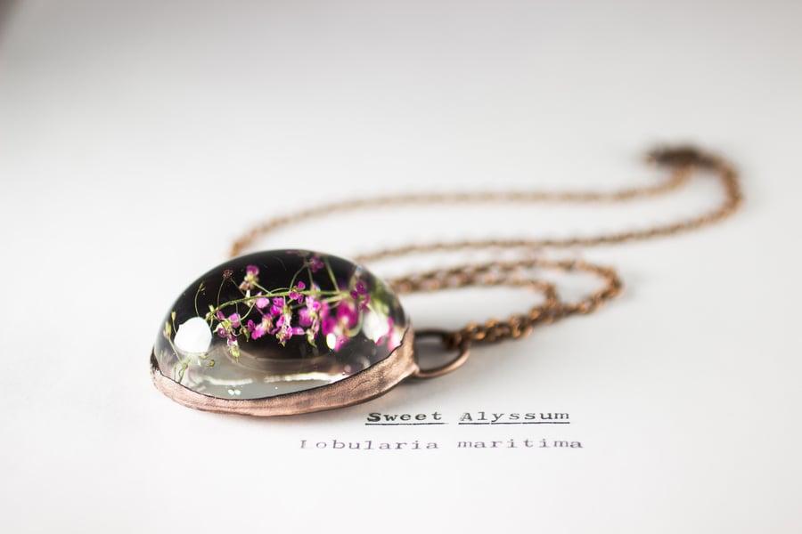Image of Sweet Alyssum (Lobularia maritima) - Copper Plated Necklace #1