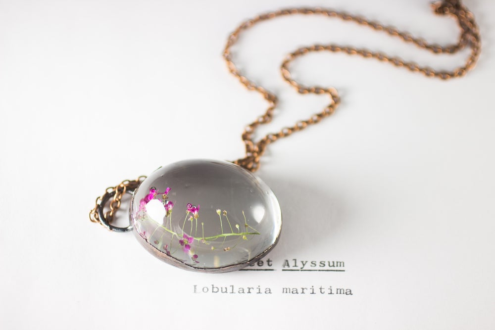 Image of Sweet Alyssum (Lobularia maritima) - Copper Plated Necklace #2