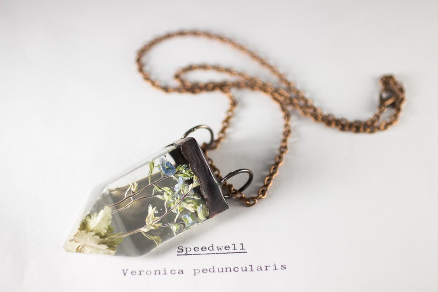 Image of Speedwell (Veronica peduncularis) - Small Copper Prism Necklace
