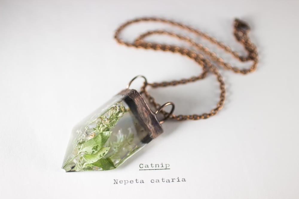 Image of Catnip (Nepeta cataria) - Small Copper Prism Necklace #1