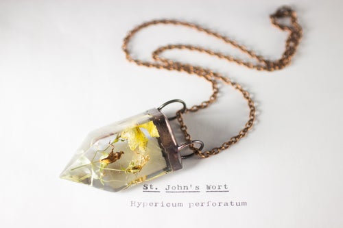 Image of St. John's Wort (Hypericum perforatum) - Small Copper Prism Necklace #1
