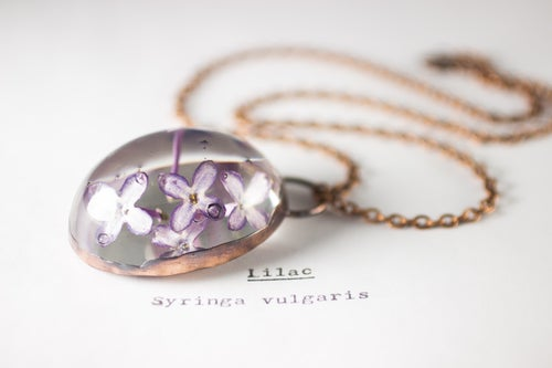 Image of Lilac (Syringa vulgaris) - Copper Plated Necklace #2