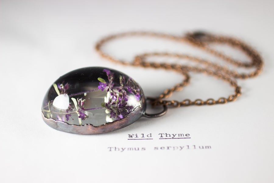 Image of Wild Thyme (Thymus serpyllum) - Copper Plated Necklace #1