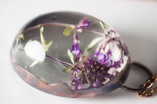 Image of Wild Thyme (Thymus serpyllum) - Copper Plated Necklace #2