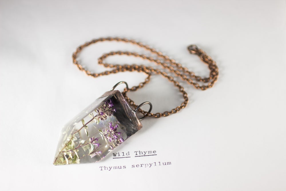 Image of Wild Thyme (Thymus serpyllum) - Small Copper Prism Necklace #1
