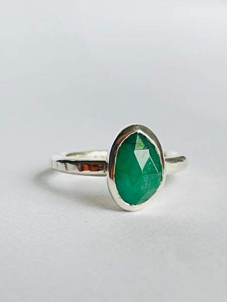 Image of Emerald and silver ring