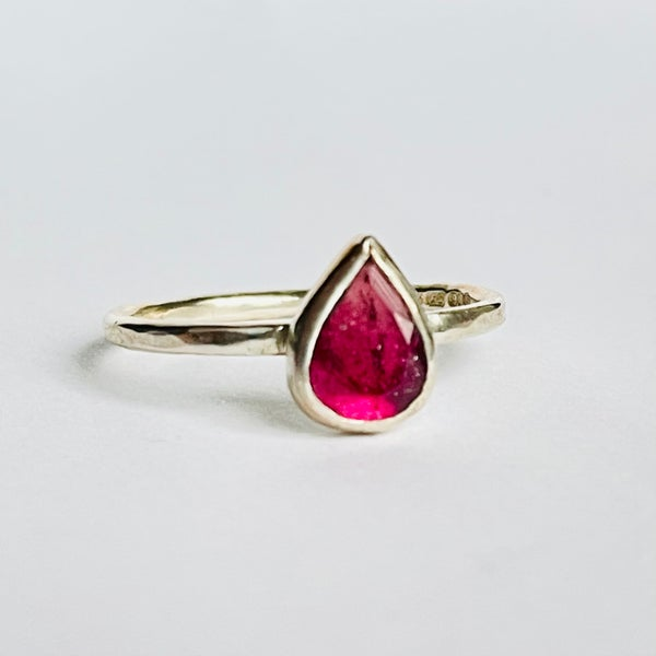 Image of Pink tourmaline silver ring