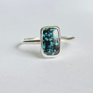 Image of Silver rectangle turquoise ring