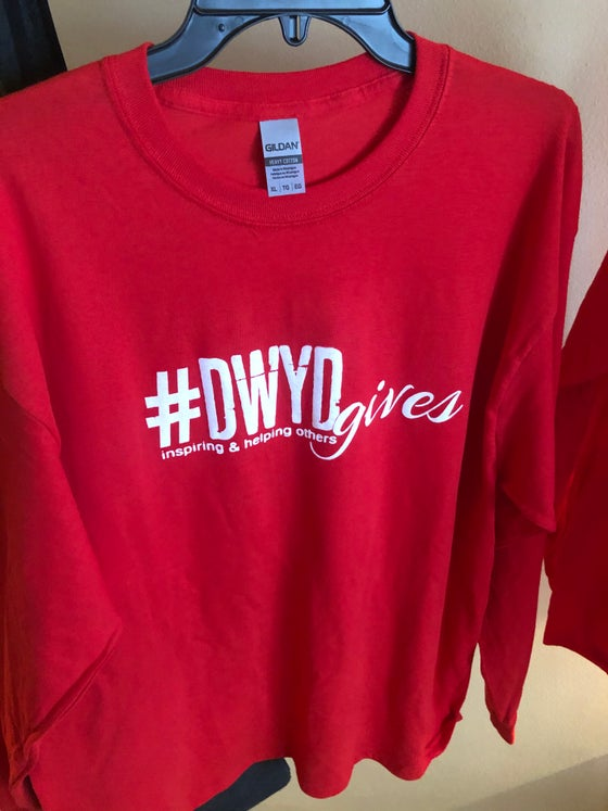 Image of Red #DWYDgives long sleeve tee shirt