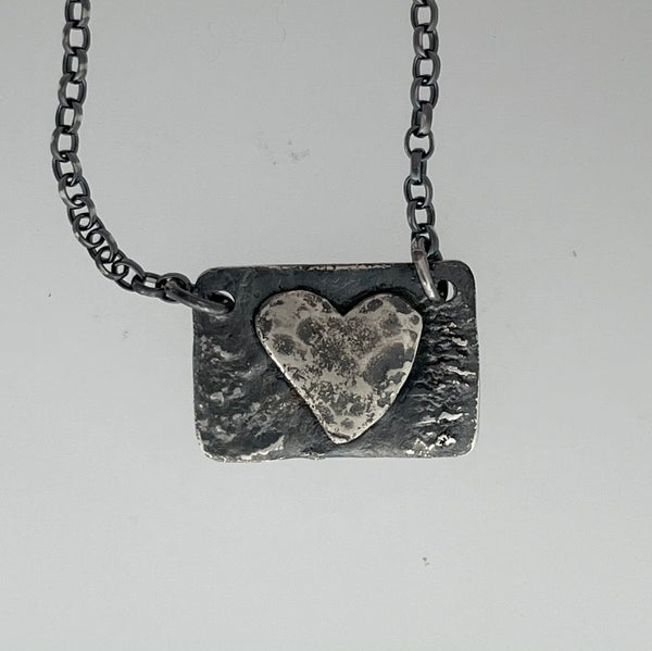 Image of Oxidised silver heart necklace